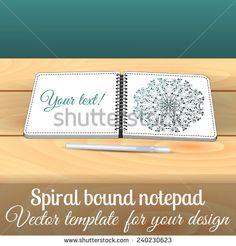 Open square spiral bound notepad on the wooden table with pen. Can be used for business design. Layered illustration. You can paste you picture in to the page. - stock vector