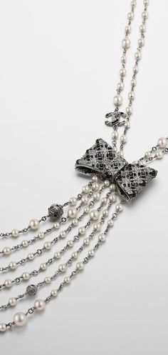 Metal tie necklace with glass... - CHANEL