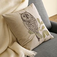West Elm Owl Pillow Cover. For our bedroom.