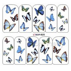 Pretty blue butterfly nail art water decals Use My 10% off code ANGELIQUEC10 @BornPrettyStore, Blue Wings Butterfly Design Print Nail Art Wa... at $2.16. http://www.bornprettystore.com/-p-16995.html
