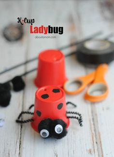 Simple, easy to make Lady bug craft that uses recycled K-cups. A great way to upcycle a K-cup into a cute ladybug craft. Use as a toy or decoration.
