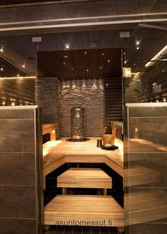 Sauna on pakko olla :) Villa Adele - Sauna Sauna Steam Room, Sauna Room, Home Interior, Bathroom Interior, Industrial Bathroom, Interior Design, Cabine Sauna, Design Sauna, Dream Home Design