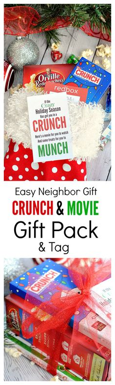 Cute Neighbor Gift Idea: If the crazy holiday season has got you in a CRUNCH, here's a movie for your to watch and some treats for your to MUNCH
