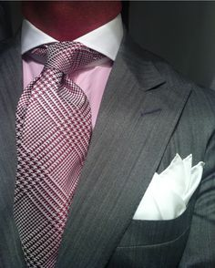 Grey Herringbone Suit by Ralph Lauren, Pink Shirt with Contrasting White Keaton Collar by Purple Label, Tie by Domenico Spano & White Silk Pocket Square by Charvet - CLASSY