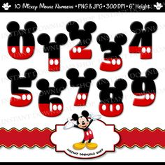 INSTANT DOWNLOWD Mickey Mouse Numbers by InstantDownloadShop