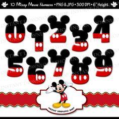 Números Mickey Mouse DOWNLOWD instantánea gráfico Digital Mickey Mouse, fiesta Mickey, imágenes prediseñadas de Mickey, Mickey Mouse cumpleaños, primero segundo tercero
