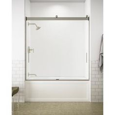 Delta Classic 400 Curve 60 in. x 62 in. Frameless Sliding Tub Door in Stainless-B55910-6030-SS - The Home Depot Tub Shower Doors, Bathtub Doors, Frameless Sliding Shower Doors, Modern Towel Bars, Roller Design, Contemporary Baths, Shower Remodel, Types Of Doors, Modern Minimalist