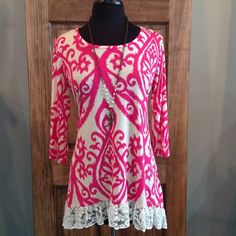 This flowy top is just the right shade of pink to make your outfit POP!!- 96% Polyester 4% Spandex- Loose Fit- Hand Wash- Made in the USA