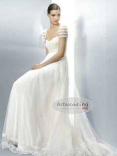 Tulle Column Wedding Dress with Lace Sleeves and Bodice