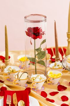Bookmark this step-by-step DIY project for an enchanted rose centerpiece for a Beauty and the Beast inspired dinner party. #partner