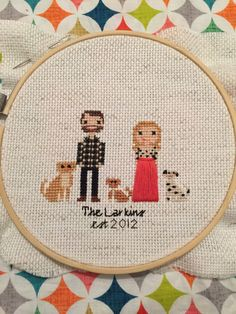 Custom Cross Stitched Family Portrait  5 by ThreadAndGlory on Etsy