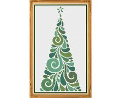 Modern Christmas Tree  Counted Cross Stitch by HornswoggleStore