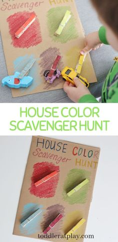 This House Color Scavenger Hunt is such an awesome idea if you're stuck indoors and kids need to let some of their energy out! It's super easy to prepare, in fact you'll need only a few craft supplies… Gross Motor Activities, Indoor Activities For Kids, Preschool Activities, Crafts For Kids, Kindergarten Crafts, Educational Activities, Group Games For Kids, Games For Toddlers, Toddler Games