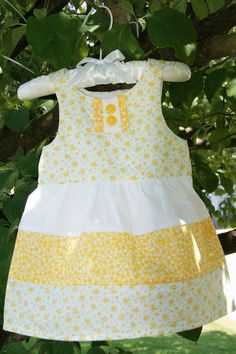 Vintage Inspired Yellow Calico Baby Girl Sundress Layette Set with Dress, Burp Cloth, and Bib Infant 0-3 months.