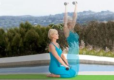 Hero pose with arm raise. A great #yoga pose to strengthen your abs and back.