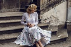 Lace top with floral skirt Bohemian, Luxury, Stylish, Lace, Floral, Pretty, Skirts, Model, Pink
