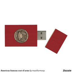 American Samoan coat of arms Wood USB 2.0 Flash Drive