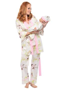 3267947e49273 5 Piece Mom And Baby Pajama Set - Pink By Olian | Maternity Clothes  available at