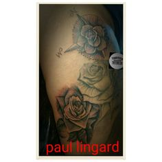 By paul @thirteentattooco @sharpiepaul  Added the bottom and top roses Middle rose is healed
