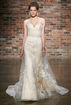 Jim Hjelm - Fall 2014. Style 8413, peach silk faced satin organza modified A-line wedding dress, sheer draped tulle bodice, #love #jlm #cameoandcufflinks #bling #sparkel #sparkly #beautiful #brides #jimhjelm