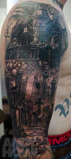 Haunted house  graveyard half sleeve by Andy Howl, HOWL Gallery/Tattoo, Fort Myers, FL.  More pics of this tattoo at www.andyhowl.com