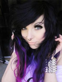 black hair with purple ombre highlights
