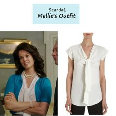 """On the blog: Mellie's (Bellamy Young) silk tie neck blouse   """"More Cattle, Less Bull"""" (Ep. 305) #tvstyle #tvfashion #outfits #fashion"""