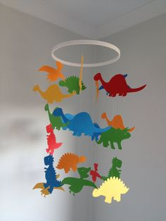 Paper dinosaur hanging mobile by Inspiredbylove2 on Etsy, $37.00