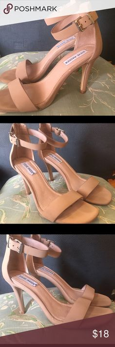 Steve Madden Nude Open Toe Heels! Preloved Steve Madden Nude Open Toe Heels! Size: 7.5. Worn once to a wedding so there are a few scuffs and dings on the heel. (See photos.) Overall super cute heels for the Spring/Summer. No trades, US only! Steve Madden Shoes Heels