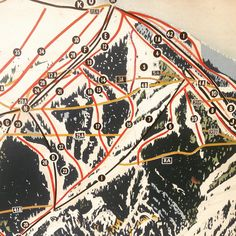 Map detail #elkhorn #idaho #sunvalley #mtbald #ski #skiing #skier #snowboard #map #trailmap #mountian #vintage #handpainted #handmade #spikeshigh #SPORTS!