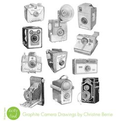 {zesty find} graphite camera drawings by Christine Berrie by 74 Lime Lane, via Flickr