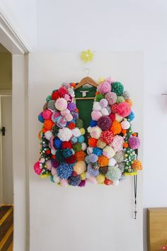 snapped by nat mccomas pom pom jacket by Carnaval Diy, Pom Pom Jackets, Pom Pom Sweater, Ugly Sweater, Turbulence Deco, Pom Pom Crafts, Pom Pom Diy, Boyfriend Crafts, Valentine's Day Diy
