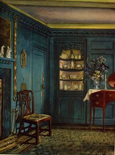 """""""A Blue Room"""", painted by WBE Ranken in 1925 for Basil Ionides' COLOUR AND INTERIOR DECORATION, published by Country Life LTD, 1926"""
