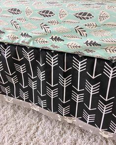 Grey Deer Crib Skirt Black Arrows Crib Skirt Tailored Crib