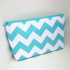 Zippered MakeUp Bag TURQUOISE CHEVRON Cosmetic Pouch by OceanPatch