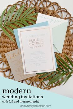 Mix up printing methods and envelopes to create truly unique wedding invitations! This design features rose gold foil, mustard thermography on recycled kraft paper, and mismatched envelopes for the modern wedding. All fonts, colors, and printing is totally customizable!