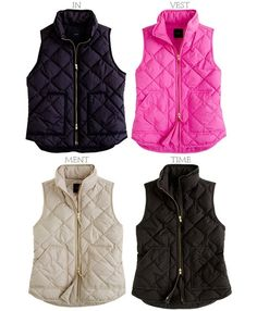 J.crew vests - must get one of these for fall & winter. They are awesome for layering without feeling too bulky