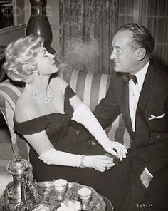 Death of a Scoundrel 1956 Zsa Zsa Gabor and George Sanders. Gowns by Waldo. Vintage Hollywood, Hollywood Glamour, Hollywood Actresses, Classic Hollywood, Gabor Sisters, Cyril Cusack, Eydie Gorme, Herbert Lom, Steve Allen