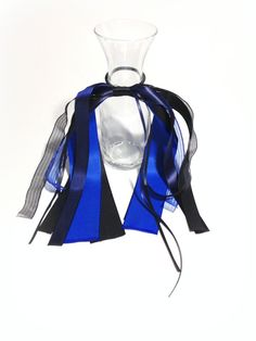 Goth Style, Hair Streamer, Blue &Black, Cheerleading Bow, Gymnastics Hair Ribbons, Team Uniform, Dance Recital Hair Bow, Cosplay and Anime by FlyingCraneRibbons on Etsy
