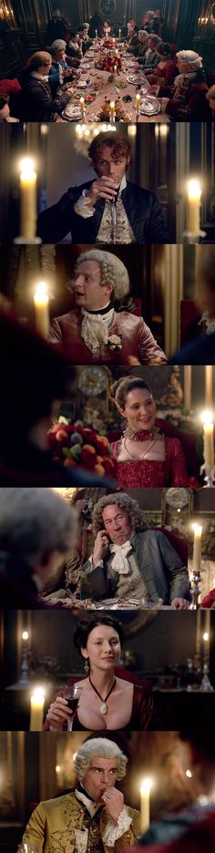 """Season 2 of 'Outlander', Ep. 204, """"La Dame Blanche"""": So much finery in the room. Claire feels out of place. When she went to Versailles, she wore a similar red dress without embellishment, but in that case, the shocking shade of red and the exposure of her decolletage allowed her to navigate the room effectively. This is a far tougher crowd with much more on the line than anythings faced before – and she's not at her best, given all the drama that unfolded beforehand."""