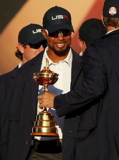 Vice-captain Tiger Woods of the United States celebrates during the closing ceremony of the 2016 Ryder Cup at Hazeltine National Golf Club on October 2016 in Chaska, Minnesota. Chaska Minnesota, Ryder Cup, October 2, Tiger Woods, Golfers, Photo On Wood, Golf Clubs, Cool Pictures, United States