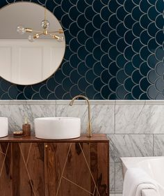 It's all in the detail.I love the dark Syren tiles in contrast with the marble tiles and dark wood of the vanity unit Credit: Topps Tiles Art Deco Tiles, Art Deco Bathroom, Small Bathroom, Loft Bathroom, Dark Blue Bathrooms, Blue Tiles, Marble Tiles, Blue Bathroom Tiles, Fully Tiled Bathroom