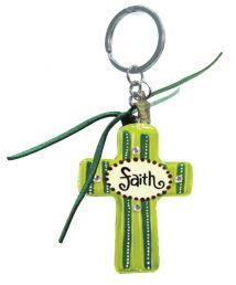 WOODEN KEYRING:  FAITH.    Colorful inspirations to brighten your day!  Wooden keyrings (Cross) 56mm x 79mm)
