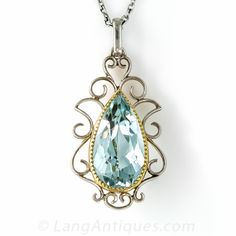 Antique Aquamarine Pendant Necklace