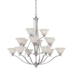 Thomas Lighting, Prestige 15-Light Brushed Nickel Hanging Chandelier, TK0023217 at The Home Depot - Mobile