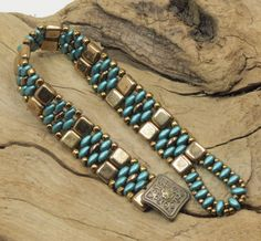SUPERDUO CZECHMATE TILE Bracelet - Pearl Coat Teal SuperDuos - Bronze Tiles - Toho Seed Beads -   (SD71) by CinfulBeadCreations on Etsy