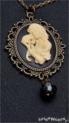 Gothic Dia de los Muertos Amulet  necklace locket by SpinnWeben, €25.00