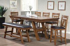 Nevan Oak Wood Counter Height Bench