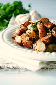 Garlic Roasted Potatoes with Cilantro and Lemon
