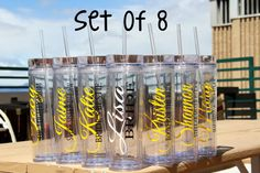 Set of  8  - Personalized Bride, Bridesmaid, Junior Bridesmaid, Flower Girl and Maid of Honor Acrylic Tumblers, Bridesmaid Gifts